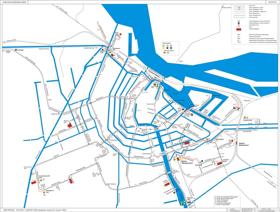 Een van de nieuwste aanwinsten in kleur. Het tramnet van Amsterdam op 1 januari 1905 (en wijzigingen in de sporen tot 1 januari 1908) dat al flink gegroeid was vergeleken met de tekening uit 1875. Tekening: Kees Kooij/collectie: NVBS Railverzamelingen.
