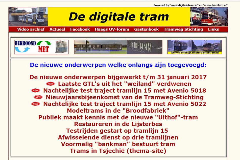 Een screenshot van de indexpagina op De Digitale Tram. De site trekt gemiddeld vierhonderd bezoekers per dag.
