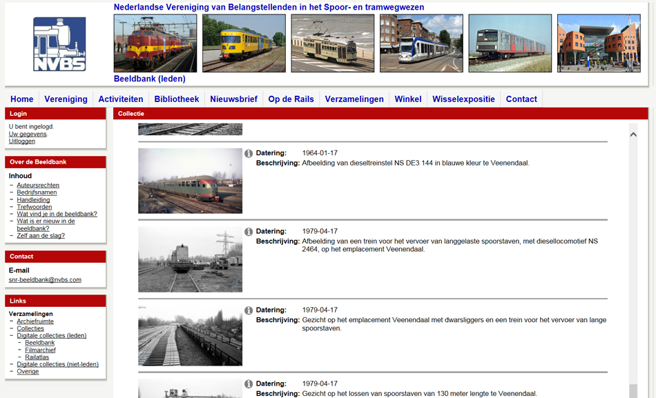 Het NVBS-Team Digitaal heeft in maart de presentatie van de Beeldbank op de website van de NVBS aanzienlijk verbeterd. Vooral de thumbnails werden vergroot, zodat gemakkelijker een keuze gemaakt kan worden. NVBS-leden krijgen na aanklikken van de thumbnail de foto groot op hun scherm te zien.