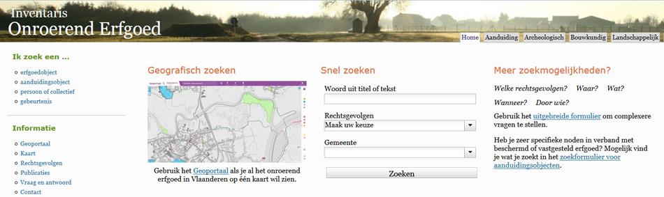 Een uitsnede van de voorpagina van de bijzondere website over het Vlaams erfgoed die voor liefhebbers die geïnteresseerd zijn in de tastbare geschiedenis van het railvervoer, veel te bieden heeft. © Onroerend Erfgoed (Vlaanderen).