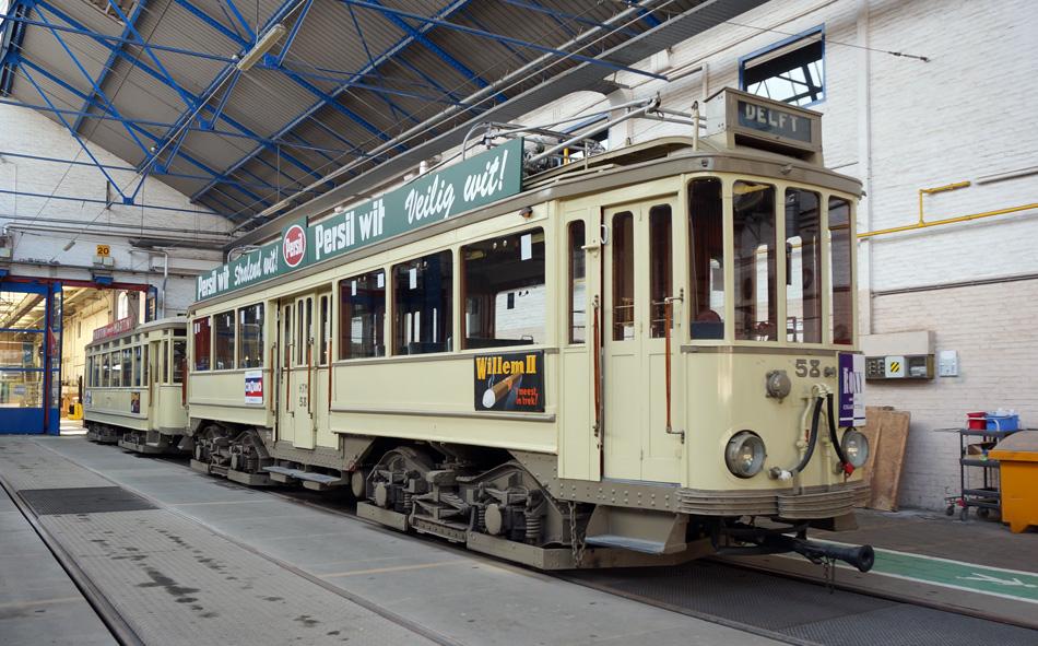 Buitenlijner 58 in de remise. Dit is het tramtype waarmee de tramziekte van Edvard begon.