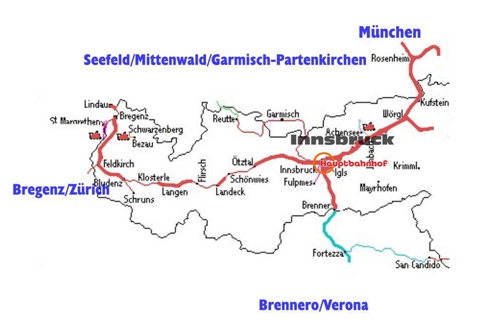 Innsbruck is een belangrijk spoorwegknooppunt met zowel een noord-zuid- als een oost-westverbinding. Tekening Marcel Rouweler.