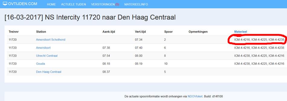 Na het aanklikken van het treinnummer zien we de precieze samenstelling van de Intercity van Amersfoort Schothorst naar Den Haag Centraal: 4216+4225+4238 tot Utrecht en daarna (omdat de trein kopmaakt) de omgekeerde volgorde.