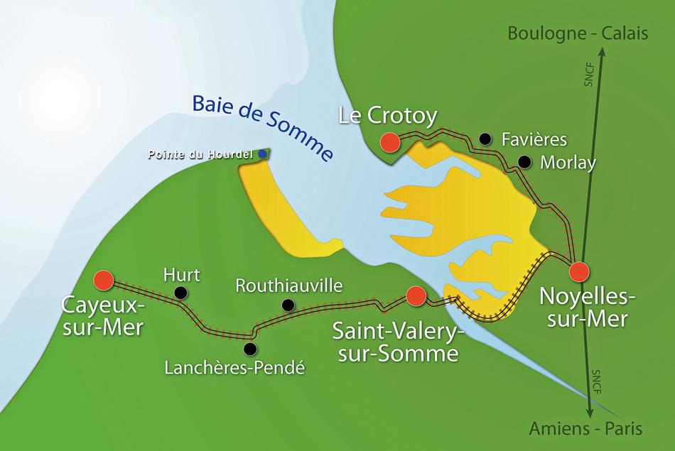 De baai van de Somme. Kaart met de museumlijnen van de Chemin de Fer de la Baie de la Somme.