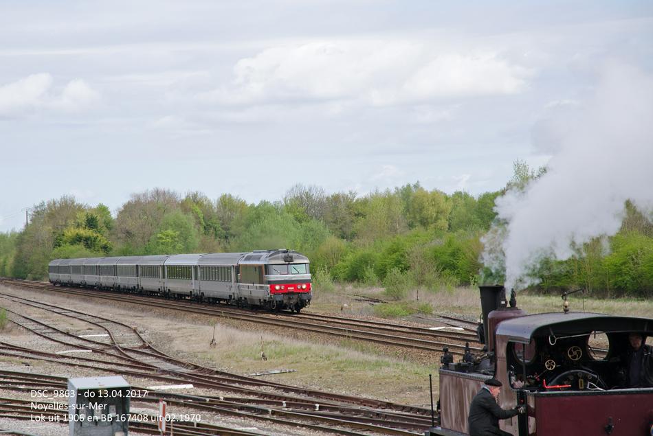 CFBS-locomotief nr. 1 uit 1906 en SNCF-locomotief BB 167408 uit 1970 in Noyelles-sur-Mer.